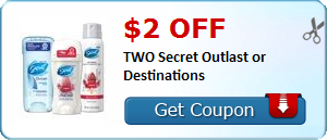 $2.00 off TWO Secret Outlast or Destinations