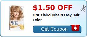 $1.50 off ONE Clairol Nice N Easy Hair Color