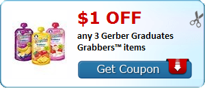 $1.00 off any 3 Gerber Graduates Grabbers? items
