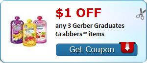 $1.00 off any 3 Gerber Graduates Grabbers™ items