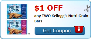 $1.00 off any TWO Kellogg's Nutri-Grain Bars