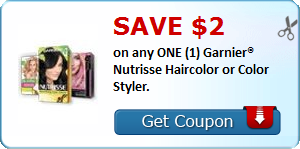 SAVE $2.00 on any ONE (1) Garnier® Nutrisse Haircolor or Color Styler.
