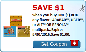 Save $1.00 when you buy ONE (1) BOX any flavor LÄRABAR™, ÜBER™, or ALT™ OR RENOLA™ multipack..Expires 9/30/2015.Save $1.00.